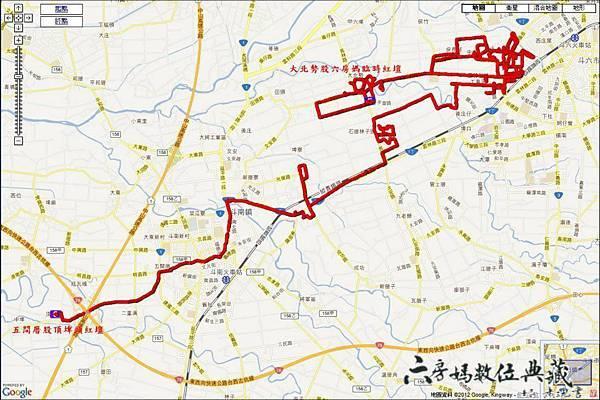 101年度六房媽過爐遶境GPS衛星定位蒐集路線圖
