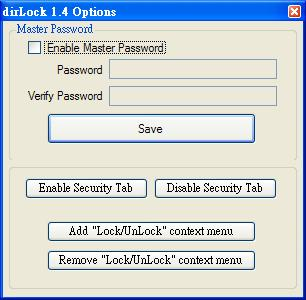 dirLock 1.4 Options