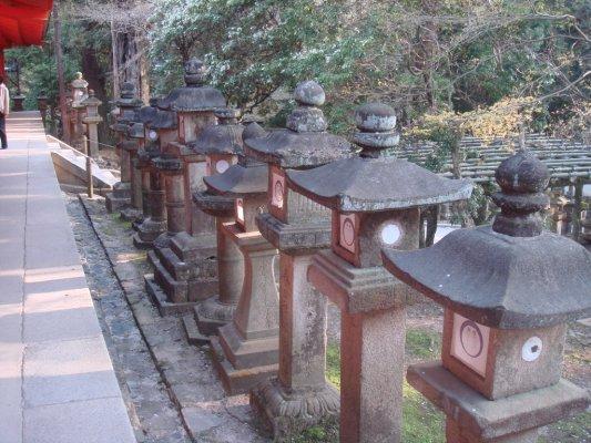 通往春日大社的參道兩旁,有許多的石燈籠,是由民間人士及組織所捐贈的