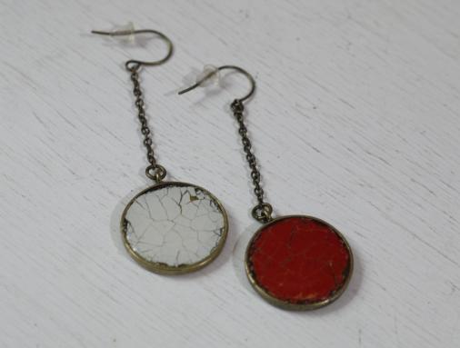 不規則碎裂鏡面復古耳環