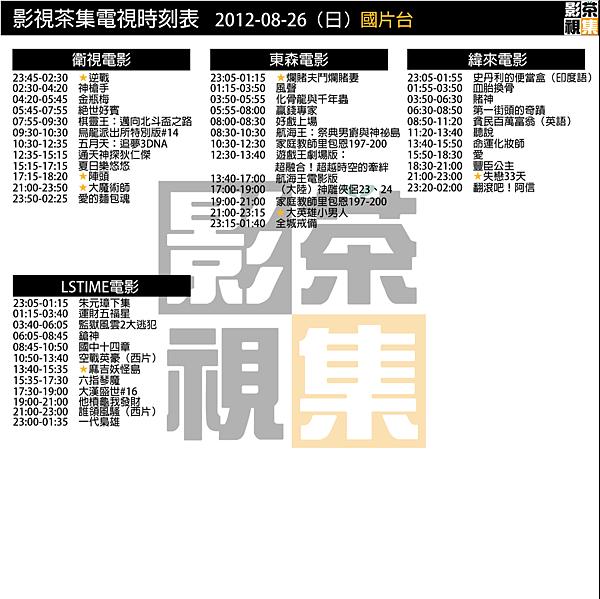 影視茶集電影時刻表_國片台_20120826