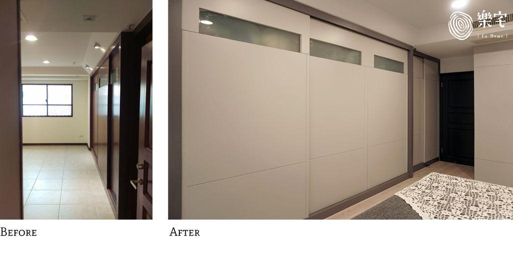 樂宅設計 桃園蘆竹 中悅凱薩春天 三房兩廳舊翻新 系統櫃設計 主臥衣櫃前後