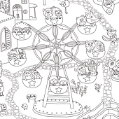 塗鴉海報預購-遊樂園線稿-近照1