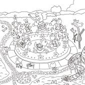 塗鴉海報預購-遊樂園線稿-近照2