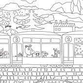 塗鴉海報預購-嘟嘟火車線稿-近照2