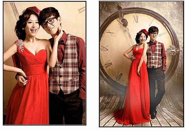 單肩韓版紅禮服 (2)
