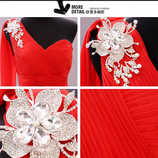 單肩韓版紅禮服 (3)