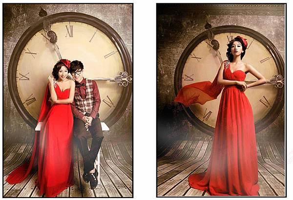 單肩韓版紅禮服 (1)