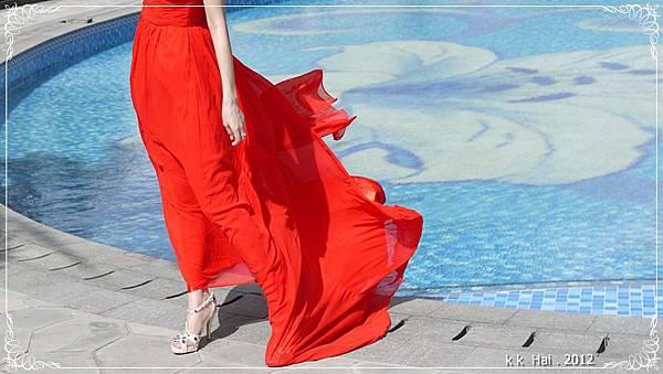 單肩紅色晚禮服 (5)