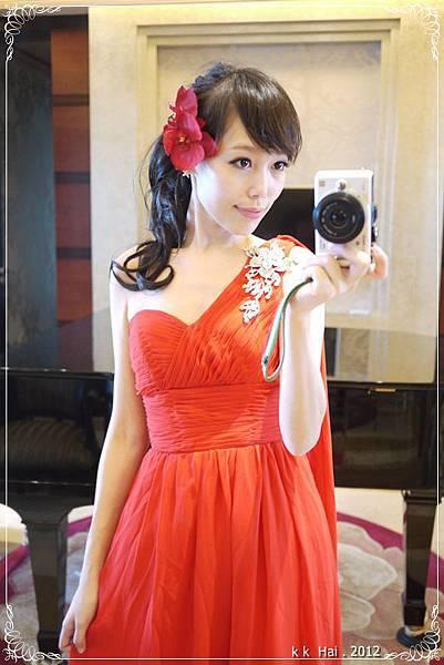 單肩紅色晚禮服 (13)