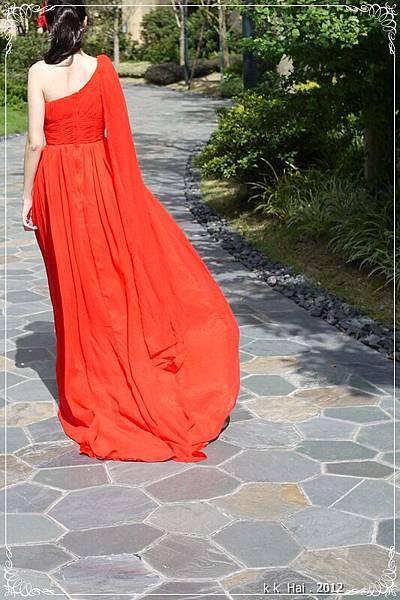 單肩紅色晚禮服 (10)