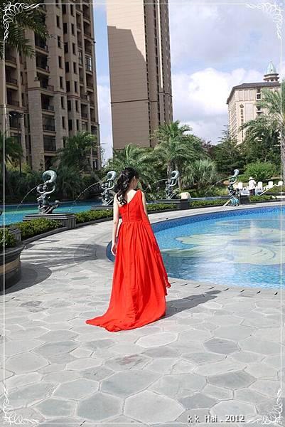 單肩紅色晚禮服 (3)