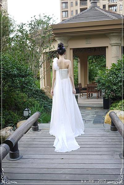 單肩花朵白紗 (6)