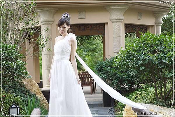 單肩花朵白紗 (5)