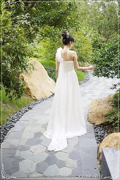 單肩花朵白紗 (11)