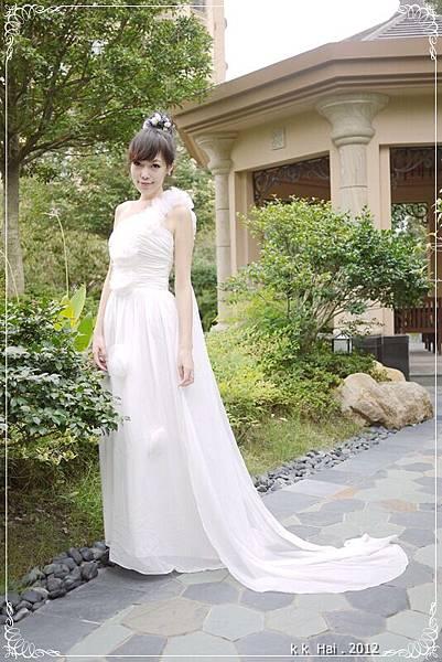單肩花朵白紗 (13)
