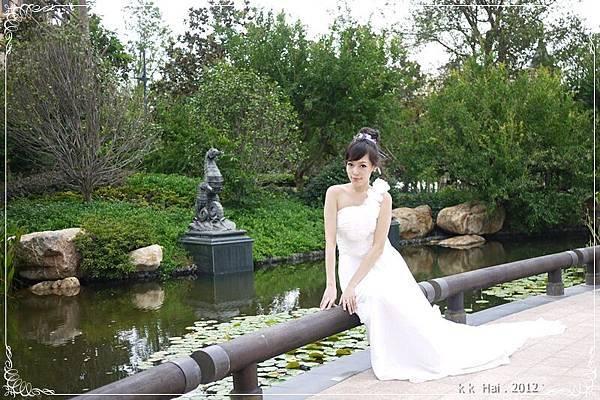 單肩花朵白紗 (1)
