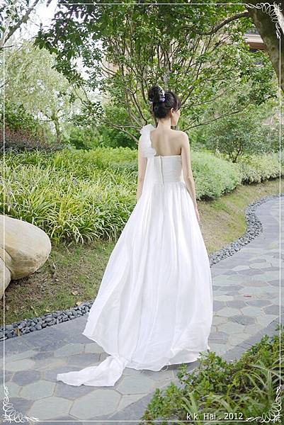 單肩花朵白紗 (15)