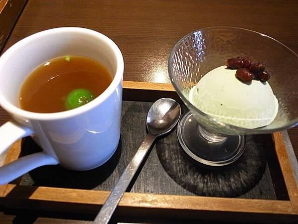 熱水果茶+紅豆抹茶冰淇淋