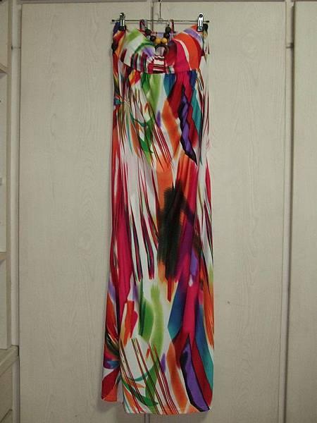彩色線條圖樣長洋裝