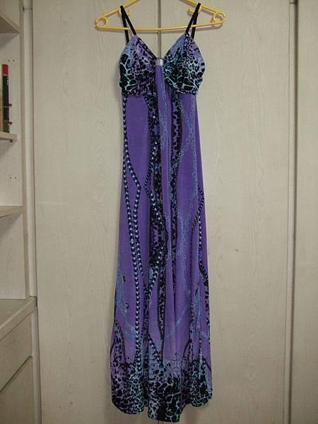 紫色豹紋鏈條圖樣長洋裝