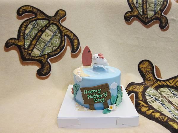 Cake.B 客製夏威夷風小海豹翻糖蛋糕 (7)