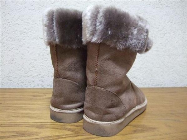 ilyu棕色蝴蝶結毛球裝飾半筒雪靴