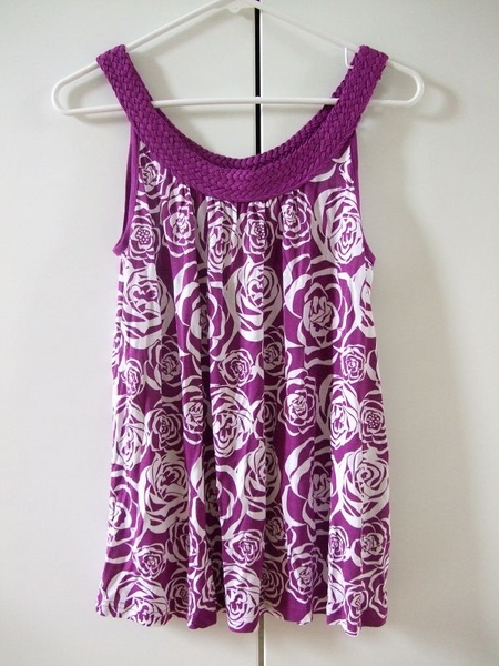 H&M紫色編織肩帶玫瑰上衣