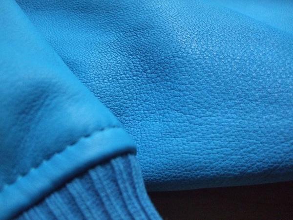 Vogie【K79】海藍色大翻領小羊皮扣環騎士皮衣外套