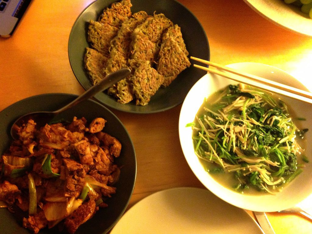 KimChi Chicken, Raman Pancake dinner