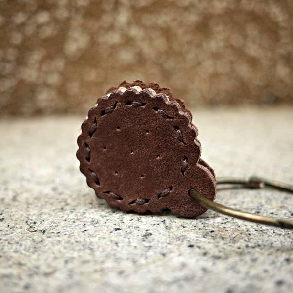 夾心餅乾真皮鑰匙圈