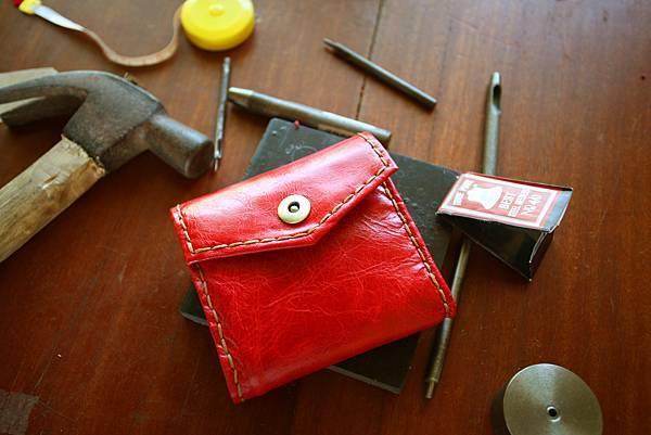 紅色真皮皮夾