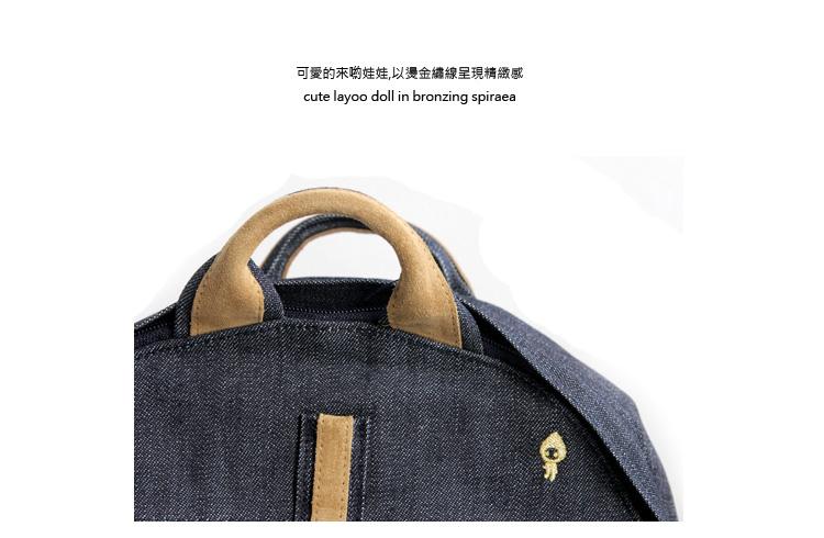 御飯糰真皮帆布防水後背包