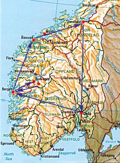 挪威旅行地圖