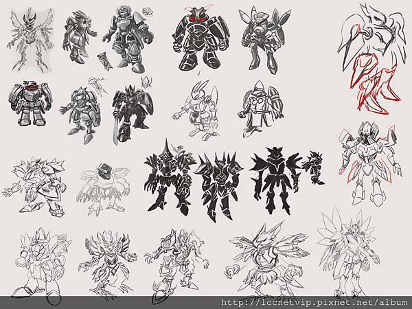 (圖一)以前要在三四天內畫十幾隻角色草圖給主管當參考