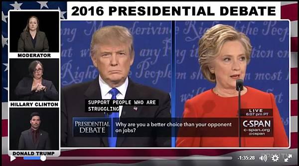 2016年總統大選辯論2016.09.26(希拉蕊發言時手語翻譯)