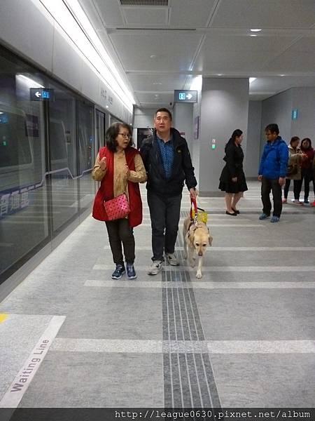 桃園捷運A1月台視覺障礙者引導設施