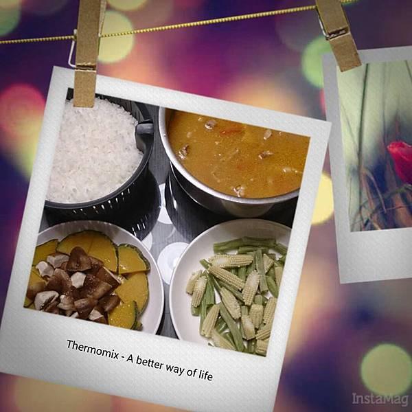 白飯、番茄肉片湯、南瓜菇菇、敏豆玉米筍