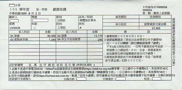 105學年度第1學期私立大學女兒學費55805元