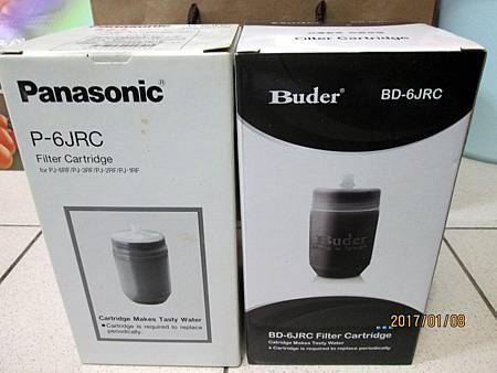 Panasonic國際牌淨水器濾心P-6JRC是日本製,價錢約在469元左右。Buder BD-6JRC活性碳濾心是台灣製,價錢約在245元左右。 (1)
