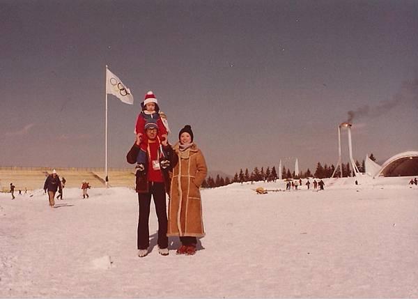 1980年第十三屆冬季奧運 右後方是聖火台