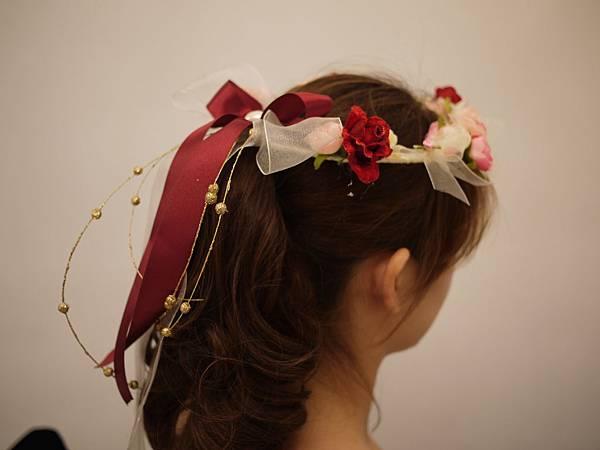 紅色系伴娘花童髮圈花環