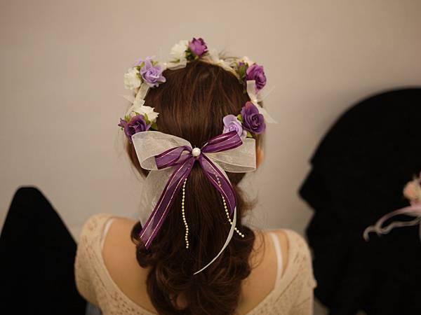紫色系伴娘花童髮圈花環