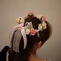 粉紅色系伴娘花童髮圈花環