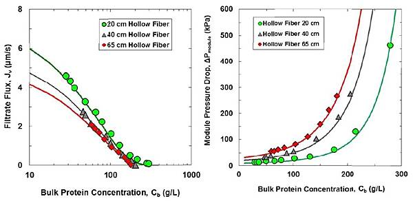 Compare pressure drop and filtrate flux with different length of hollow fiber at different concentration of mAb.jpg