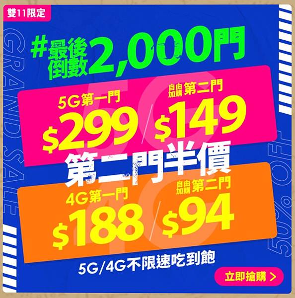 開箱 台灣之星 2020 雙11 4G吃到飽 188/94 雙門號
