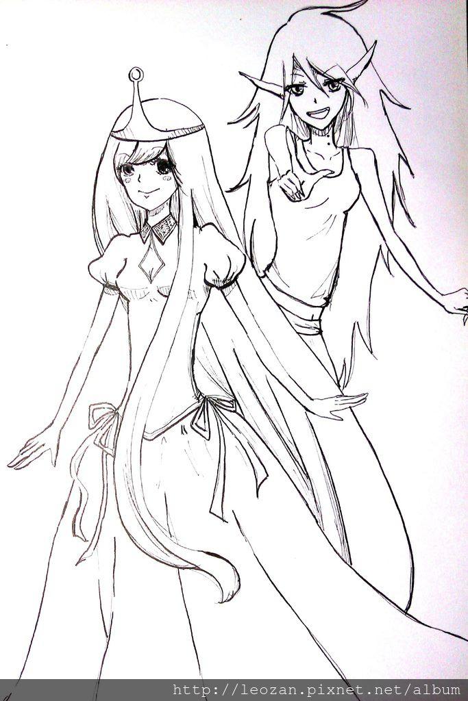 泡泡糖公主與艾薇爾手繪
