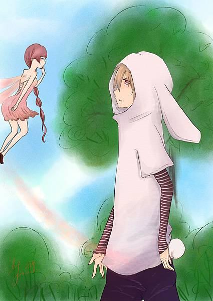 憂鬱小兔與花兒精靈_林間小路板