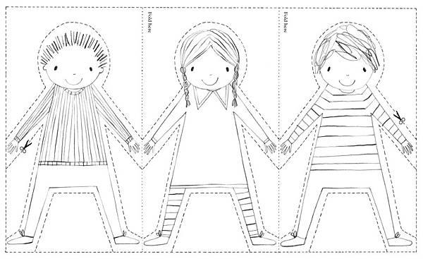 紙娃娃手牽手著色紙型-blog
