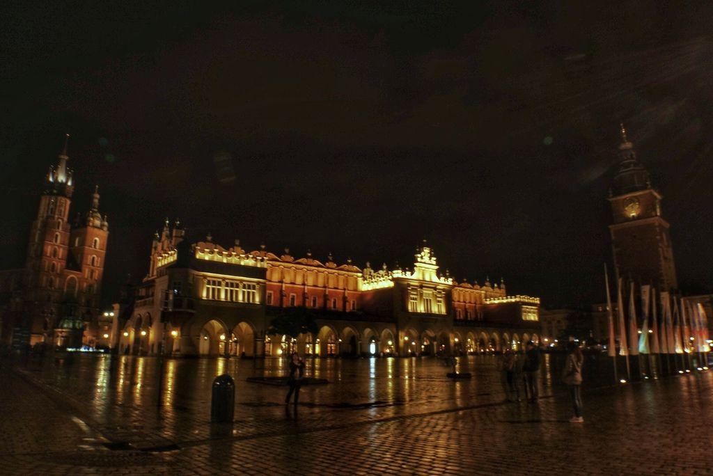 夜晚的Kraków舊城廣場